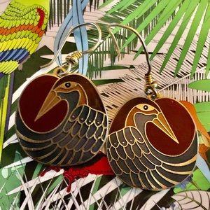 🦜Vintage Laurel Burch Nile Bird Drop Earrings🦜